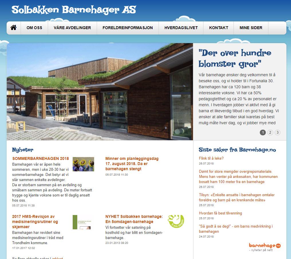 Viser nettsiden til Solbakken Barnehage