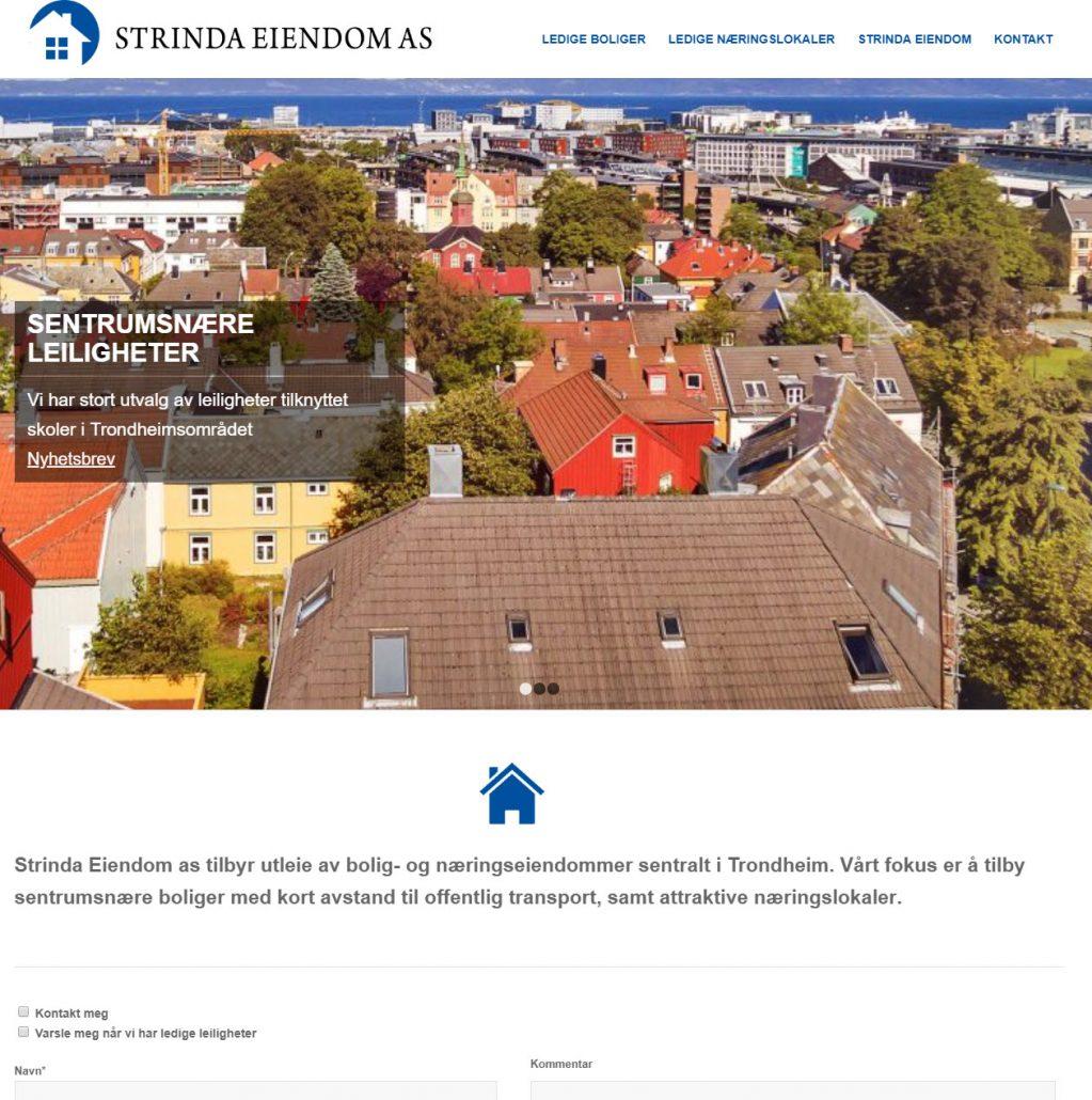 Viser bilde av nettsiden til Strinda Eiendom AS